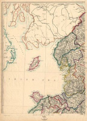 ENGLAND & WALES NW. Cumbria Lancashire Welsh coast Isle of Man. WELLER 1863 map