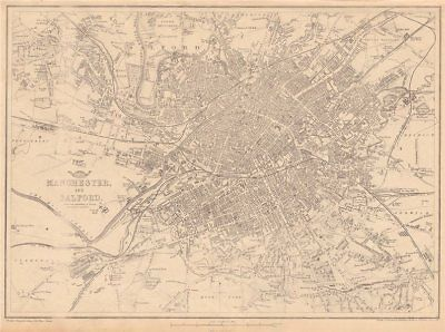 MANCHESTER SALFORD town plan by LAURENT Large 102x95cm 1793 old