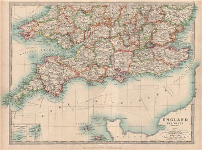 SOUTHERN ENGLAND & WALES. Shows Worcestershire enclaves. JOHNSTON 1912 old map