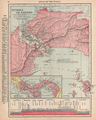 PANAMA. Isthmus, Republic, Canal zone & profile. RAND MCNALLY 1912 old map