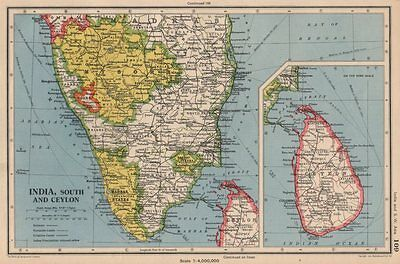 INDIA SOUTH & CEYLON (SRI LANKA) . Mysore Madras (Chennai) Kochi 1944 old map