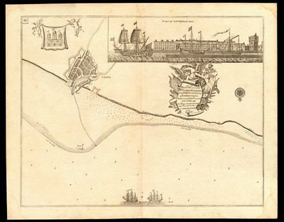 Navigation chart & view of LEITH, by Capt Greenvile COLLINS. Edinburgh c1774 map