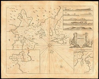 'Chiefe Harbours in the Islands of Orkney' sea chart. Kirkwall.COLLINS c1774 map