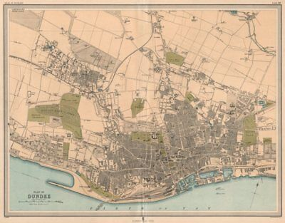 Large antique DUNDEE town/city plan. 45 x 55 cm. LARGE 1912 old map