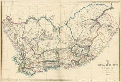 CAPE OF GOOD HOPE/NATAL Districts municipalities. South Africa. WELLER 1863 map