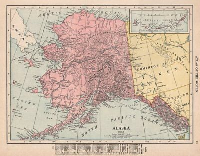 Alaska state map showing boroughs. Pre-Anchorage. RAND MCNALLY 1912 old