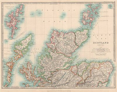 NORTHERN SCOTLAND showing battlefields and dates. JOHNSTON 1912 old map