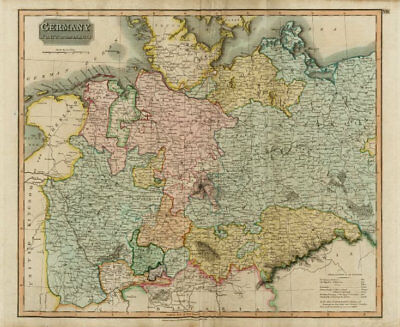 """Germany, north of the Mayne"" (Main). Prussia Hanover Saxony. THOMSON 1817 map"