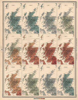 SCOTLAND average monthly temperature for 25 years by Alexander Buchan 1912 map