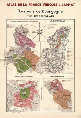 BURGUNDY BOURGOGNE WINE MAP Le Beaujolais. Appellations vineyards. LARMAT 1942