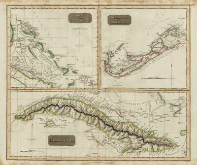 "Cuba, the Bahamas & Bermuda ""or Summer Islands"". THOMSON 1817 old antique map"