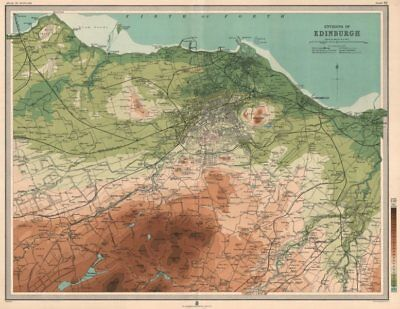 Environs of EDINBURGH & LEITH. Midlothian. Large 45x55. Relief. LARGE 1912 map