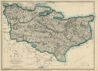 KENT. County map. Downs. Railways in use/under construction. BR DAVIES 1863