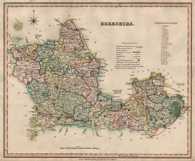 Antique county map of Berkshire by Henry Teesdale 1831 old chart