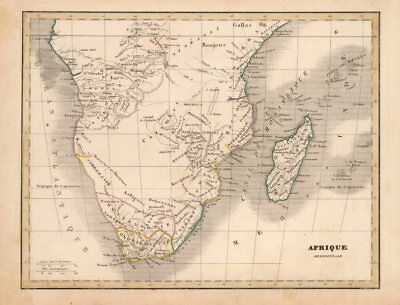'Afrique Meridionale'. Early 19C Southern Africa c1850 old antique map chart