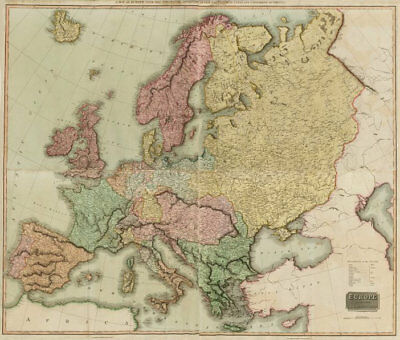 Europe after the Congress of Vienna. 4 sheets. 128x106cm. THOMSON 1817 old map