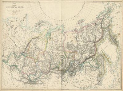 SIBERIA. 'Russia In Asia'. Shows Okrugs Oblasts Krais Republics. LOWRY 1863 map