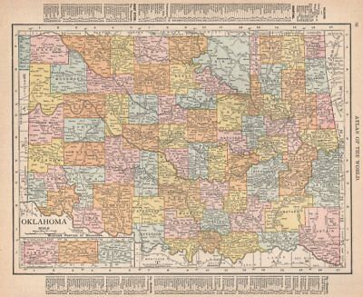 Oklahoma state map showing counties. RAND MCNALLY 1912 old antique chart