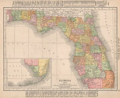 Florida state map showing counties. RAND MCNALLY 1912 old antique chart