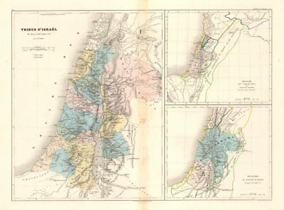 Tribus D'Israel/Royaume des Israelites &c. DUFOUR. 12 Tribes of Israel c1840 map