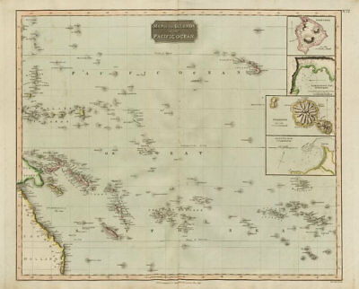"""Islands in the Pacific Ocean"". Owhyhee/Hawaii Otaheite/Tahiti. THOMSON 1817 map"