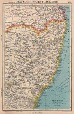 NEW SOUTH WALES COAST, NORTH. showing counties. BARTHOLOMEW 1944 old map