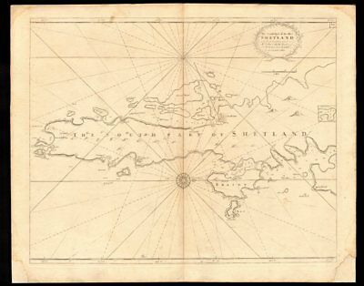'The South Part of the isles of Shetland' sea chart. Lerwick. COLLINS c1774 map