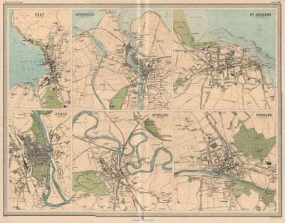 SCOTTISH TOWNS Oban Inverness St. Andrews Perth Stirling Peebles. LARGE 1912 map