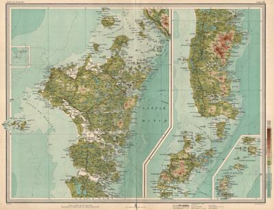NORTH UIST & SOUTH UIST Barra Western Isles Outer Hebrides. LARGE 1912 old map