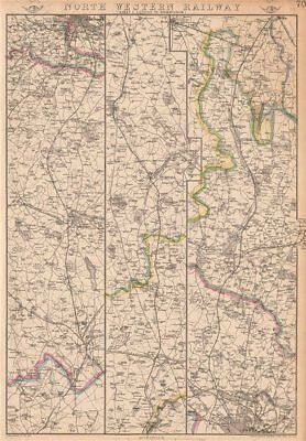 NORTH WESTERN RAILWAY 1. London to Rugby, Coventry & Birmingham.WELLER 1862 map