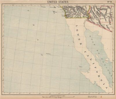 Baja & SOUTHERN CALIFORNIA & ARIZONA. San Diego & Phoenix. LETTS 1889 old map