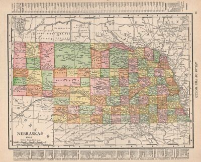 Nebraska state map showing counties. RAND MCNALLY 1912 old antique chart