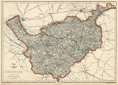 CHESHIRE. Antique county map. Railways. WELLER 1863 old plan chart