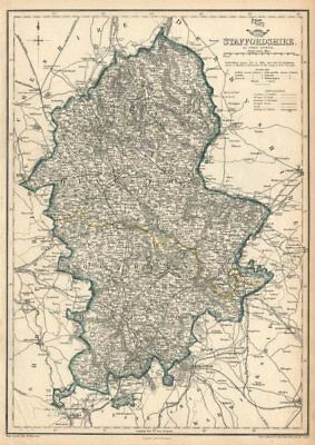 STAFFORDSHIRE. Antique county map. Showing railways & exclave. DOWER 1863