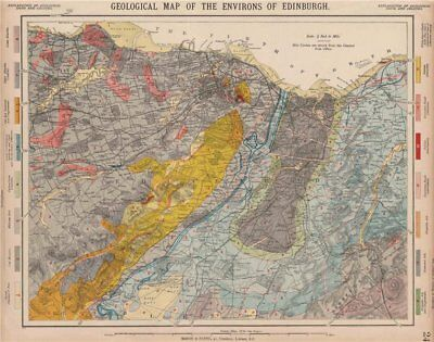 Geological map of the Environs of Edinburgh. Scotland. LETTS 1889 old