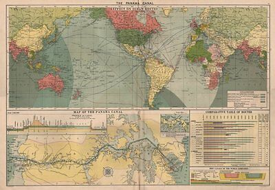 PANAMA CANAL. Effect on Ocean Routes. Map & profile. LARGE 50x70cm c1914