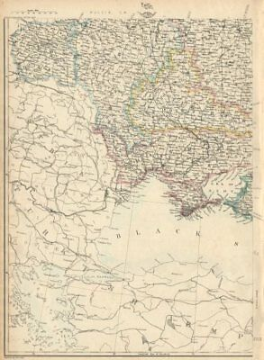 RUSSIA IN EUROPE SW. Ukraine & Poland. JW LOWRY for the Dispatch atlas 1863 map
