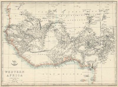 PRE COLONIAL WESTERN AFRICA.  Shows Mountains of Kong. Tribes. WELLER 1863 map