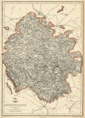 HEREFORDSHIRE. Antique county map. Showing exclaves & railways. WELLER 1863