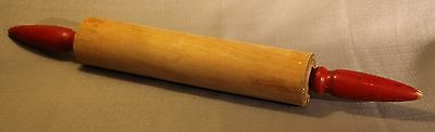 Vintage Wooden Kitchen Rolling Pin With Red Handles ! Retro Kitchenware +