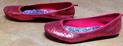 Glittery Red Shoes Dorothy Wizard Of Oz Size 4 Flat Dress Shoes