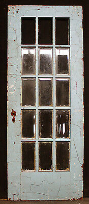 "30""x80 Antique Vintage Exterior Entry French Door Window Beveled Glass Lite Pane"