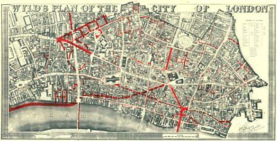 CITY OF LONDON. WYLD'S PLAN + 19th century street improvements 1944 old map