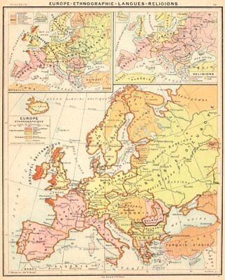 EUROPE. Ethnographie- Langues- Religions 1900 old antique map plan chart