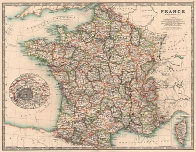 FRANCE. In departements. Railways canals. JOHNSTON 1906 old antique map chart