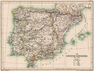 IBERIA. Spain. The Spanish Kingdoms 1263-1492. Portugal 1902 old antique map