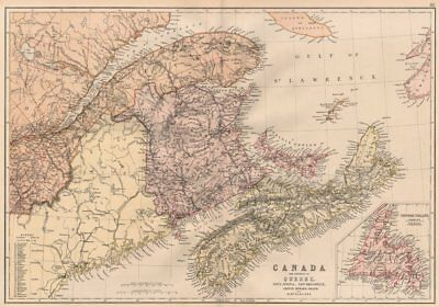 CANADA MARITIME PROVINCES. QC NS NB Prince Edward Island Newfoundland 1882 map