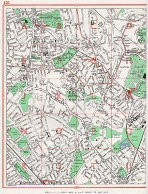 UPPER NORWOOD. Streatham Crystal Palace Thornton Heath Gipsy Hill 1964 old map