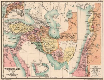 WESTERN ASIA 1190. Saladin's Syrian conquests. Atabegs Kingdom 1160 1902 map