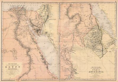 NILE VALLEY. Upper & Lower. Egypt Sinai Nubia Sudan Abyssinia. BLACKIE 1882 map
